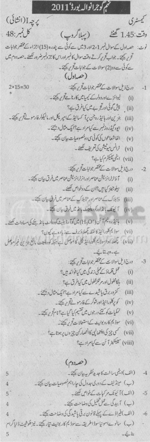 Past Papers 2011 Gujranwala Board 9th Class Chemistry