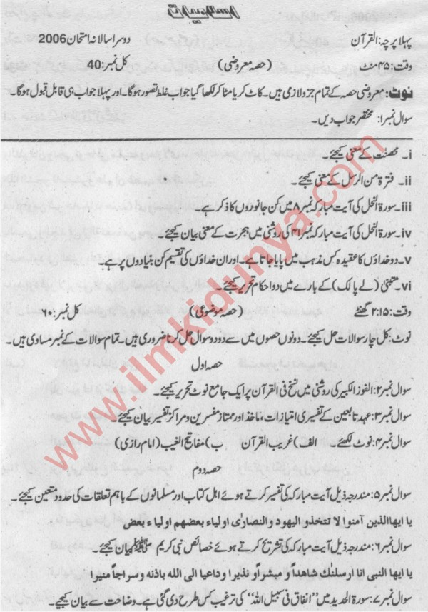 MA Islamiat Past Papers 2006 Sargodha University Part 1 Al
