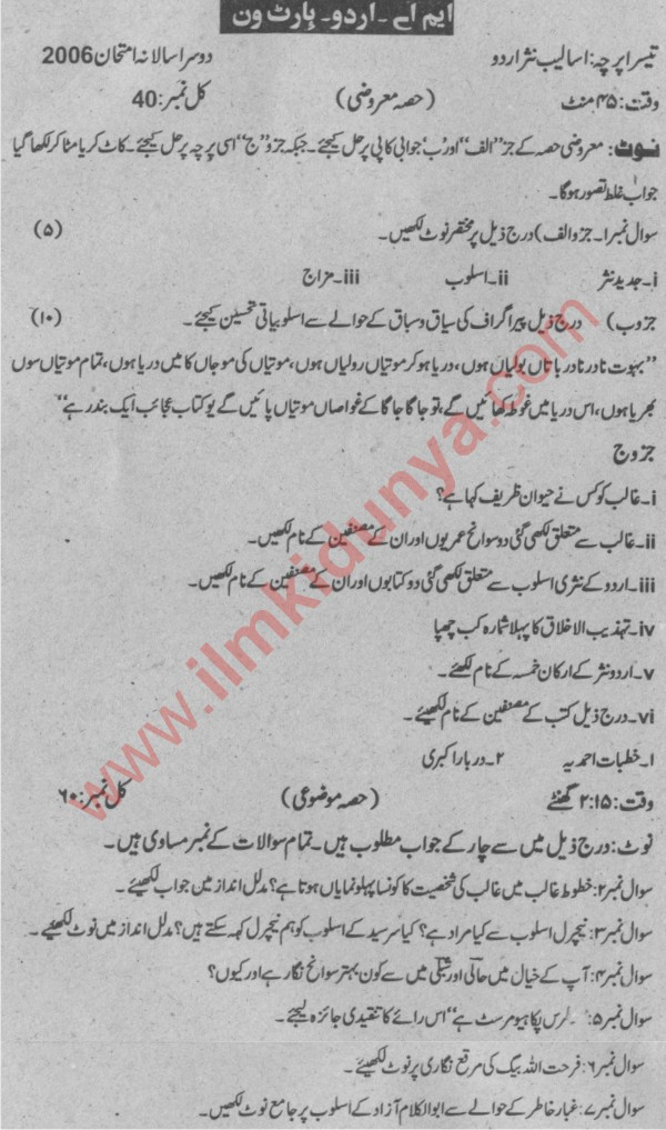 Sargodha University Past Papers 2006 MA Urdu Part 1