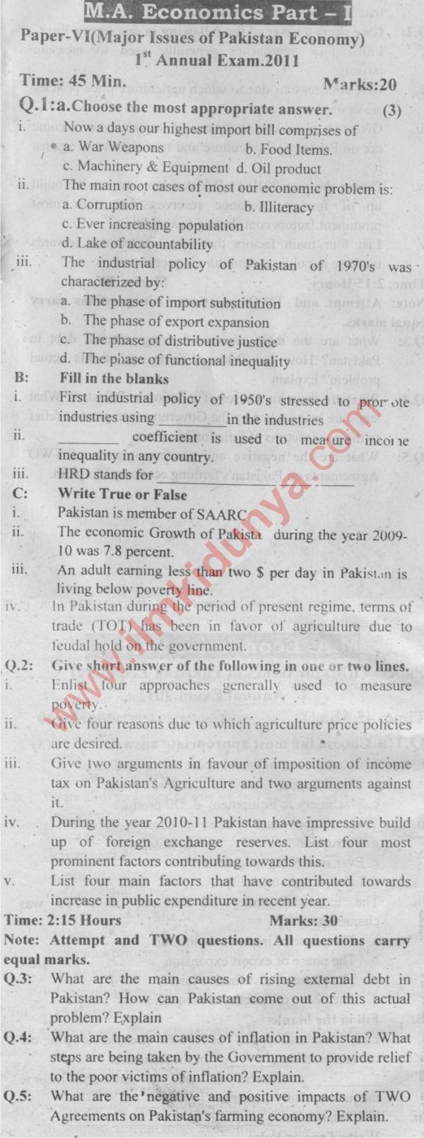 Past Papers 2011 Sargodha University MA Economics Part 1
