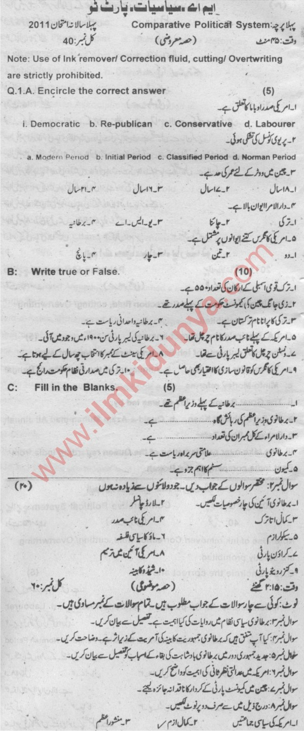 MA/MSc Political Science Past Papers 2011 Sargodha