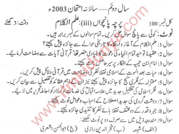 Past Papers 2003 Punjab University MA Islamiat Part 2 Ilm