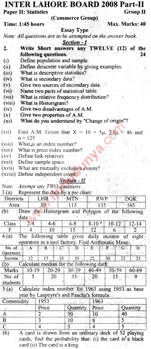 Past Papers 2008 Lahore Board ICom Part 2 Statistics