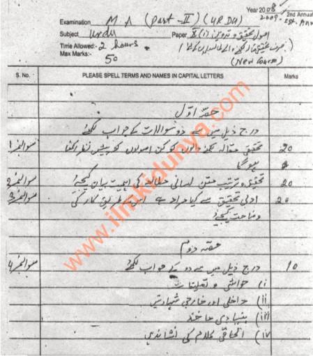 Past Papers 2008 of Bahauddin Zakariya University MA Urdu