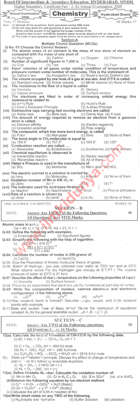 Past Papers 2009 Hyderabad Board Inter Part 1 Chemistry