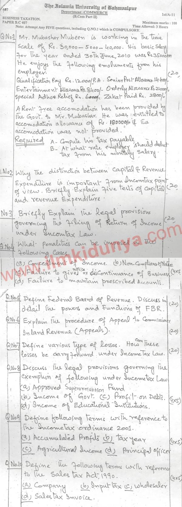 Islamia University Bahawalpur Business Taxation BCom Part