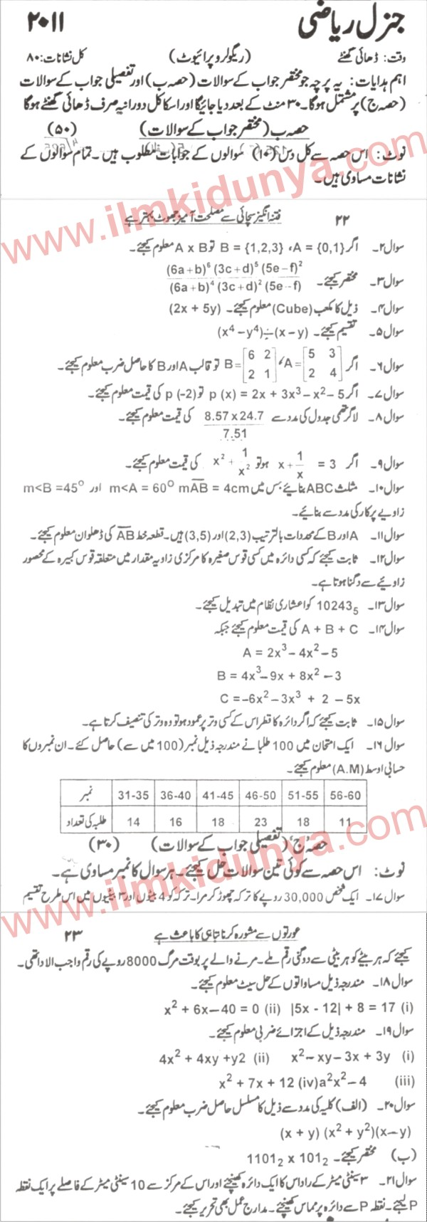 Karachi Board General Mathematics 9th Class Past Paper