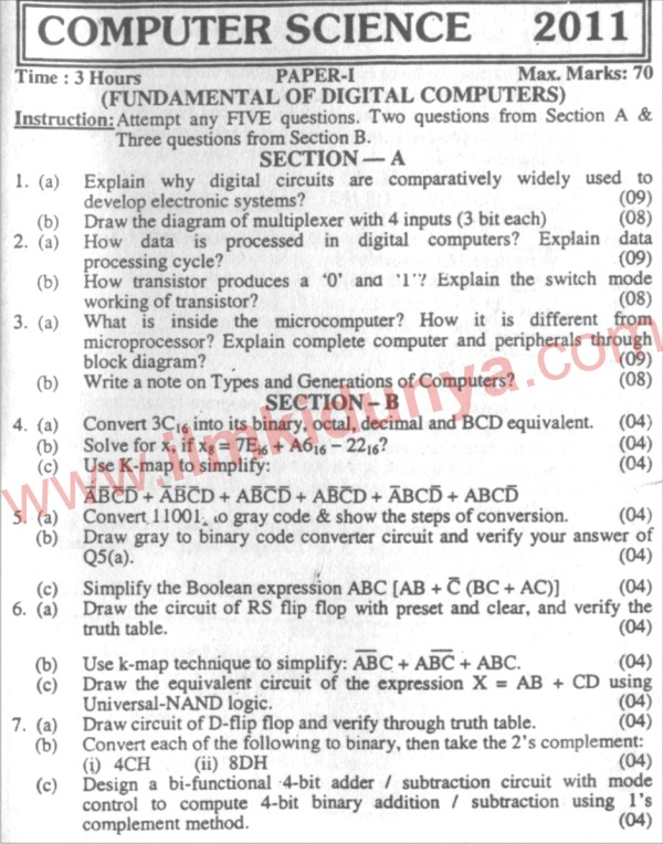 Karachi University Computer Science BSc Part 1 Past Paper