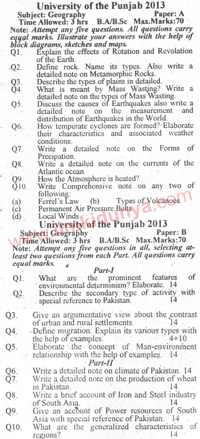 Past Paper Punjab University 2013 BA Geography English Version