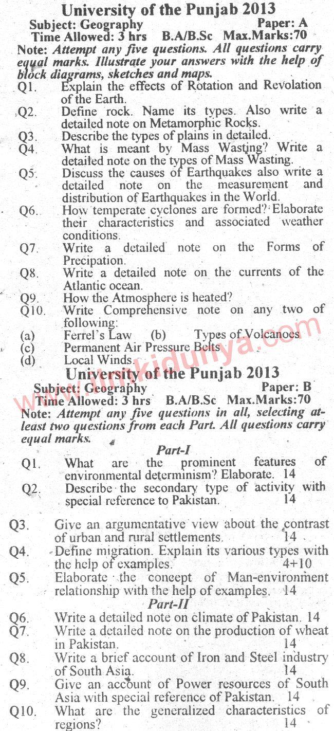 Past Paper Punjab University 2013 BA Geography English Version