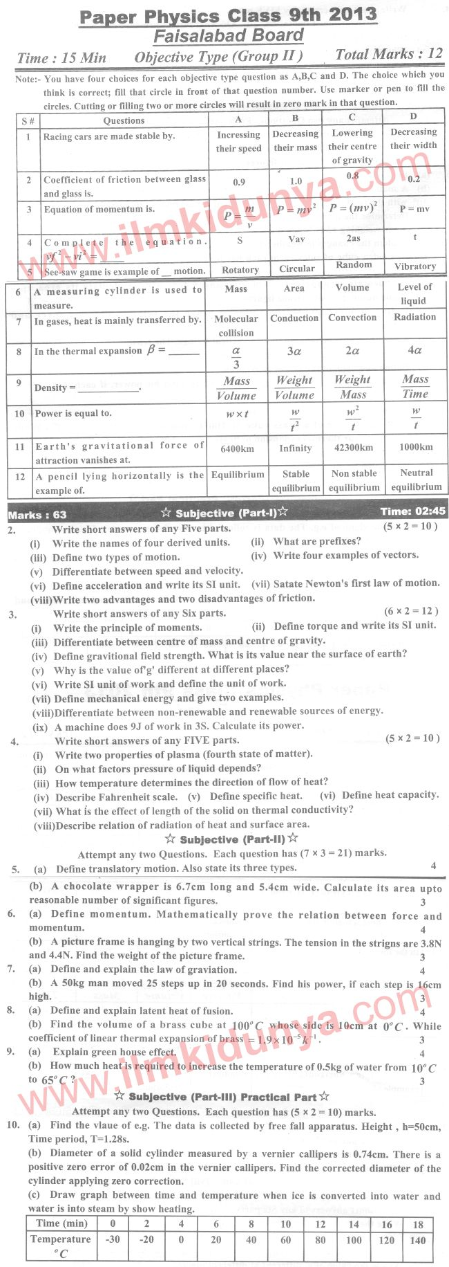 Past Papers 2013 Faisalabad Board 9th Class Physics Group