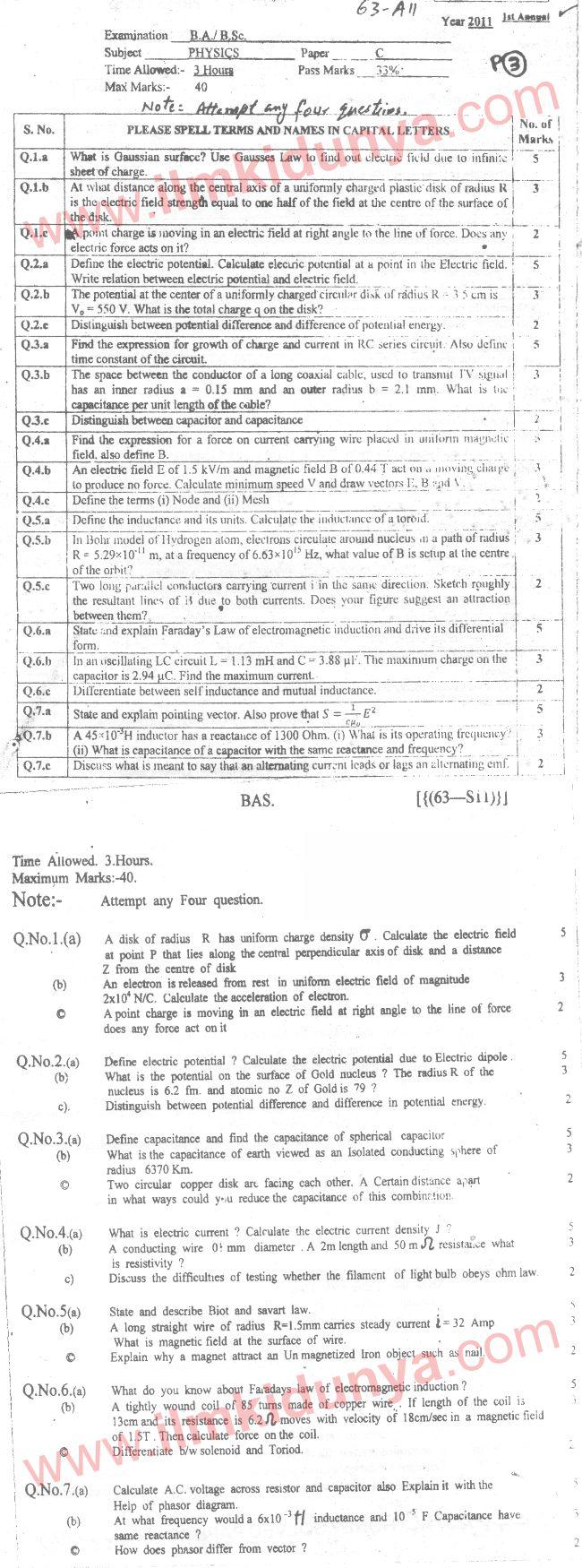 Past Papers 2011 Bahauddin Zakariya University BA Physics