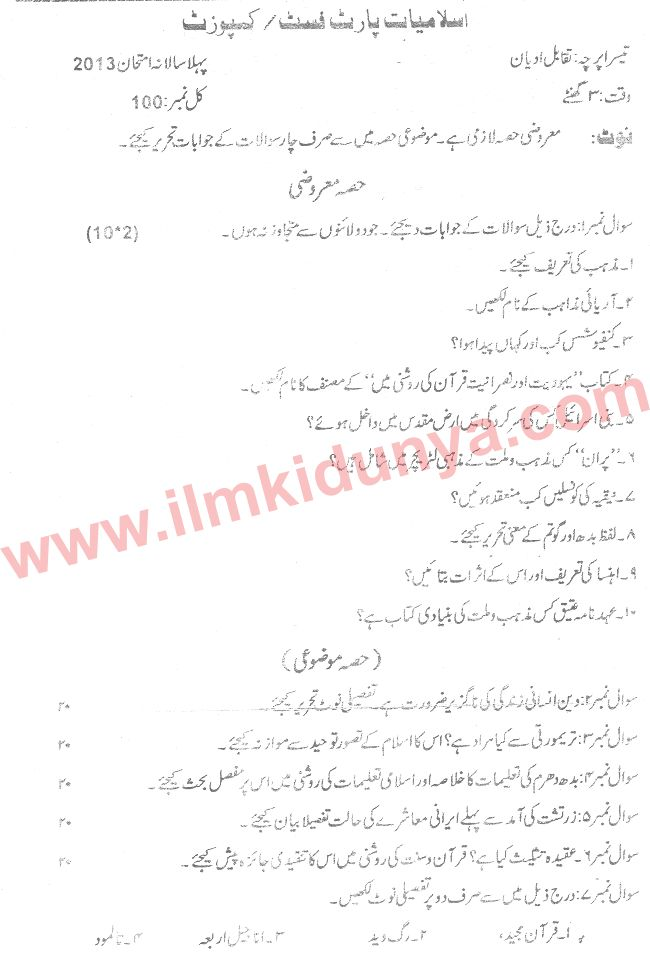 Past Papers 2013 Sargodha University MA Part 1 Islamiat