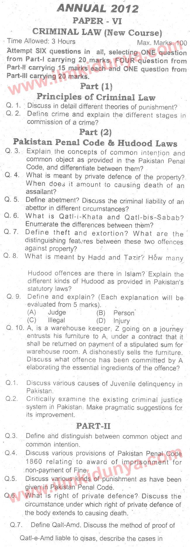Past Papers 2012 LLB Part 1 Criminal Law Paper 6