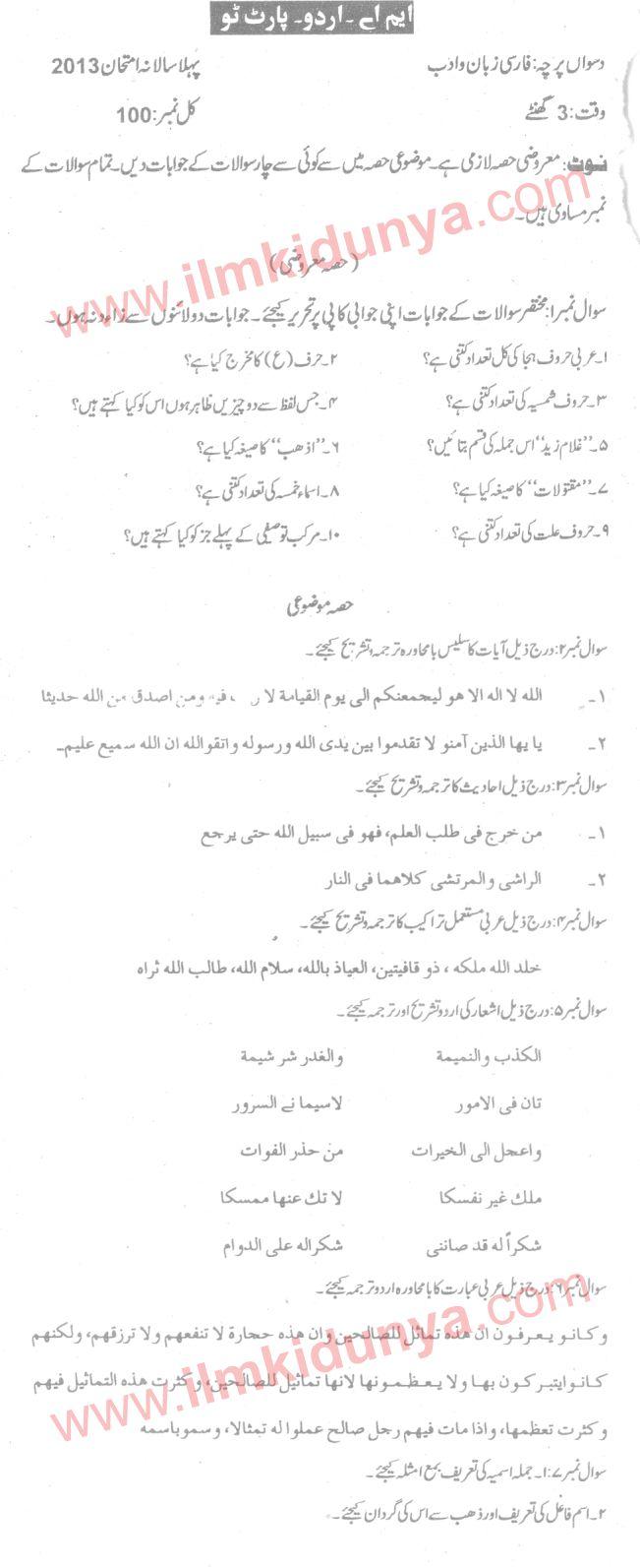 Past Papers 2013 Sargodha University MA Urdu Part 2 Farsi