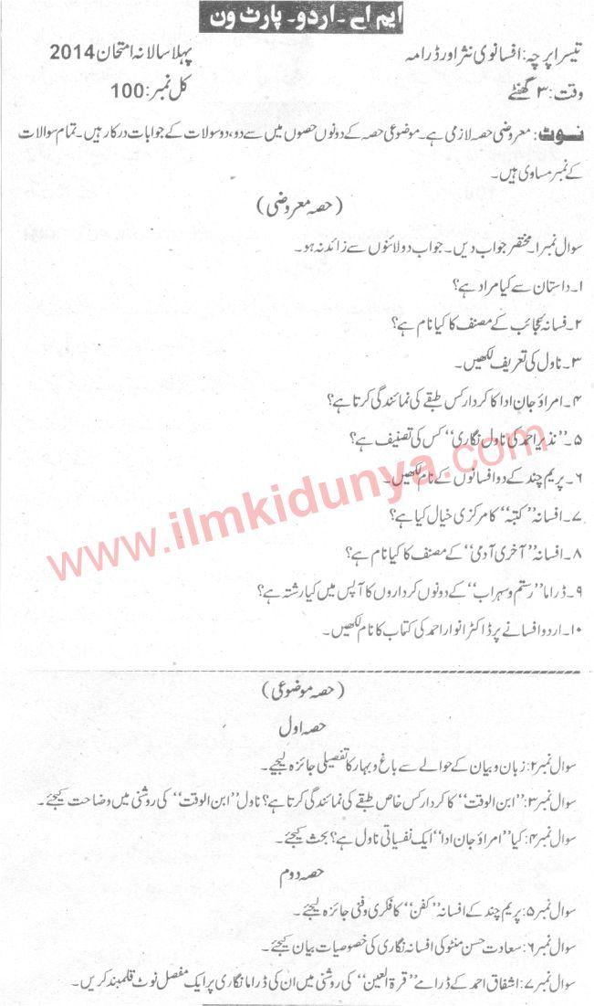 Past Papers 2014 Sargodha University MA Urdu Part 1