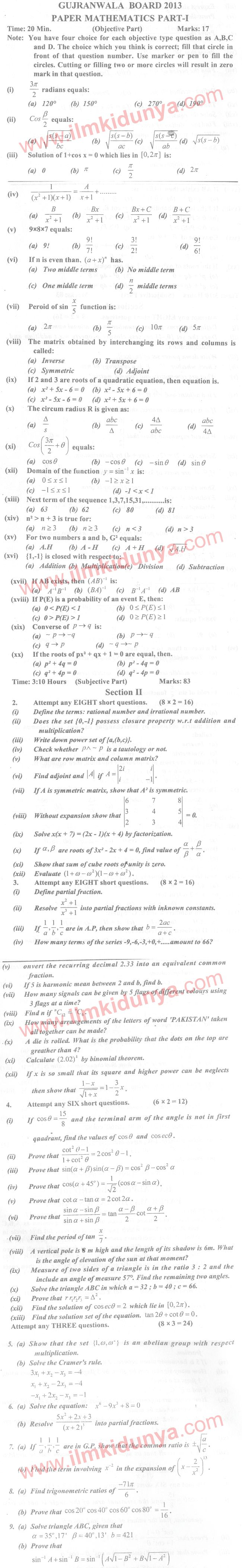 Mathematics 9th Class Past Papers 2013 Dg Khan Board