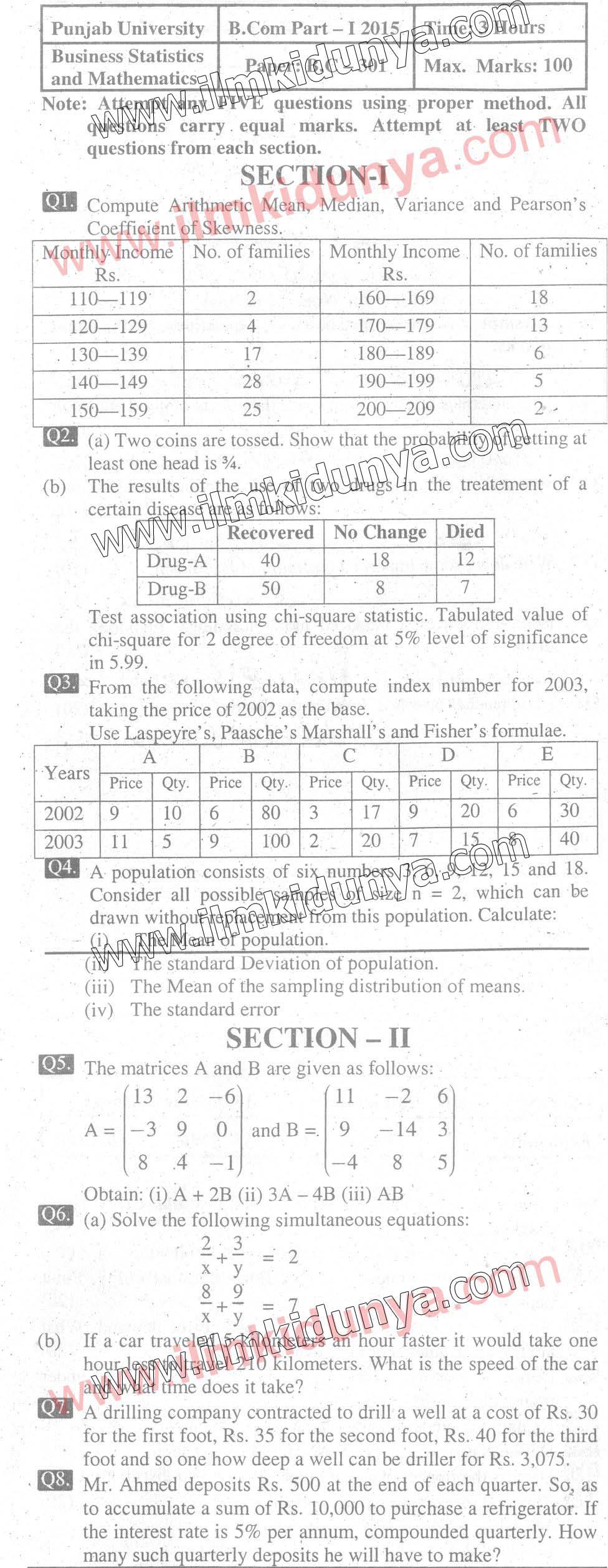 Past Paper Punjab University 2015 BCom Part 1 Business