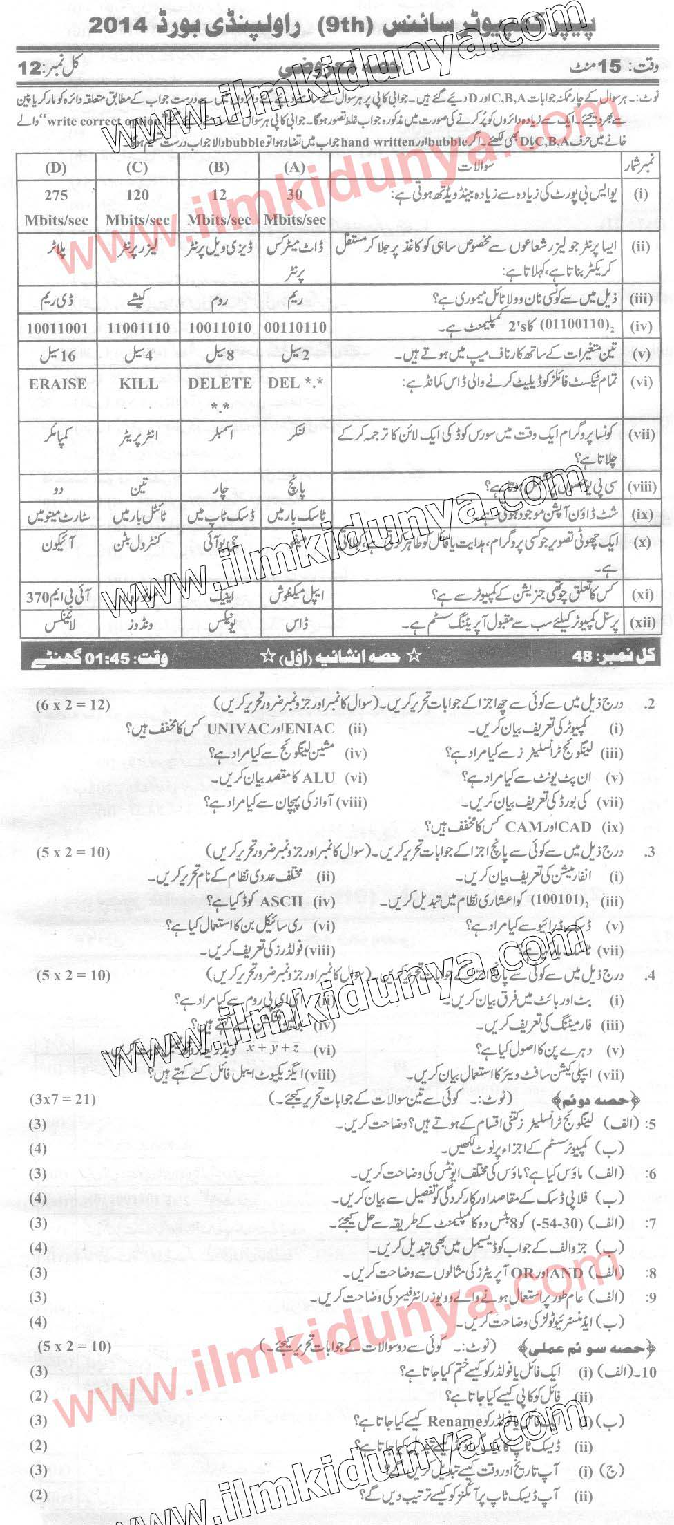 Past Papers 2014 Rawalpindi Board 9th Class Computer