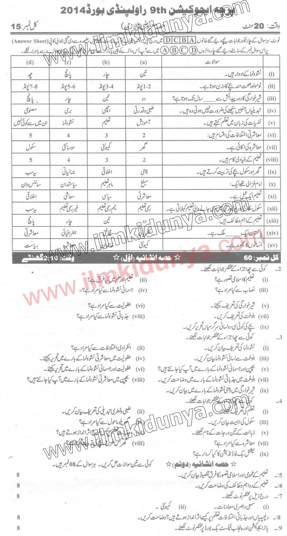 Past Papers 2014 Rawalpindi Board 9th Class Education Urdu
