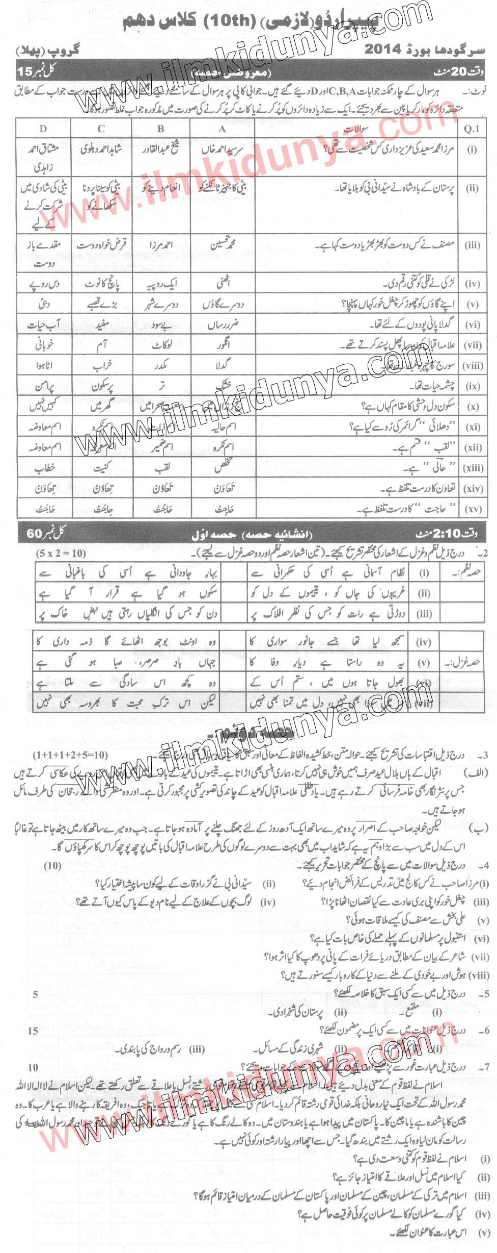 Past Papers 2014 Sargodha Board 10th Class Urdu Group 1