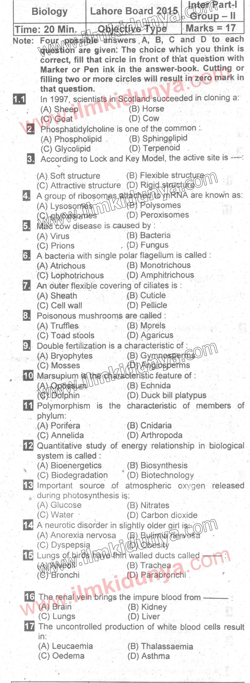Past Papers Lahore Board 2015 Inter Part 1 Biology