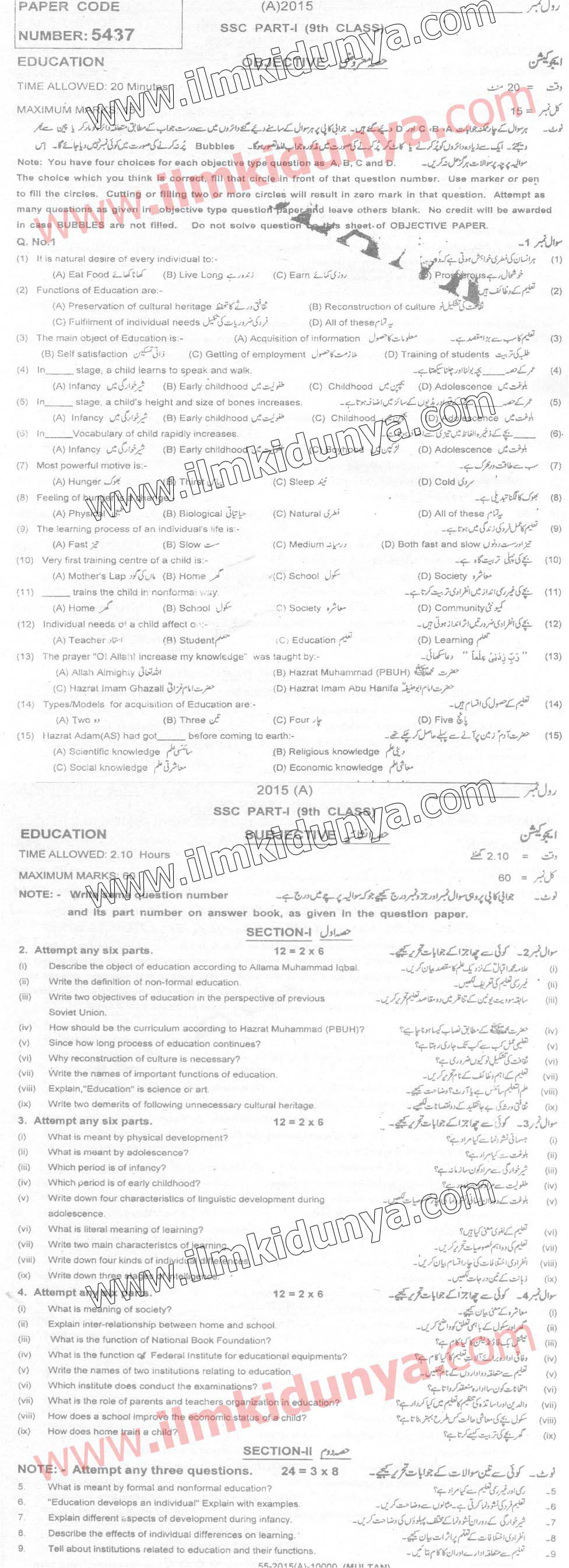Past Papers 2015 Multan Board 9th Class Education