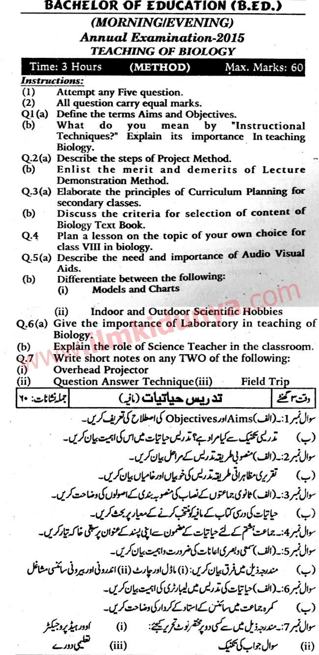 Past Papers 2015 Karachi University BEd Teaching of