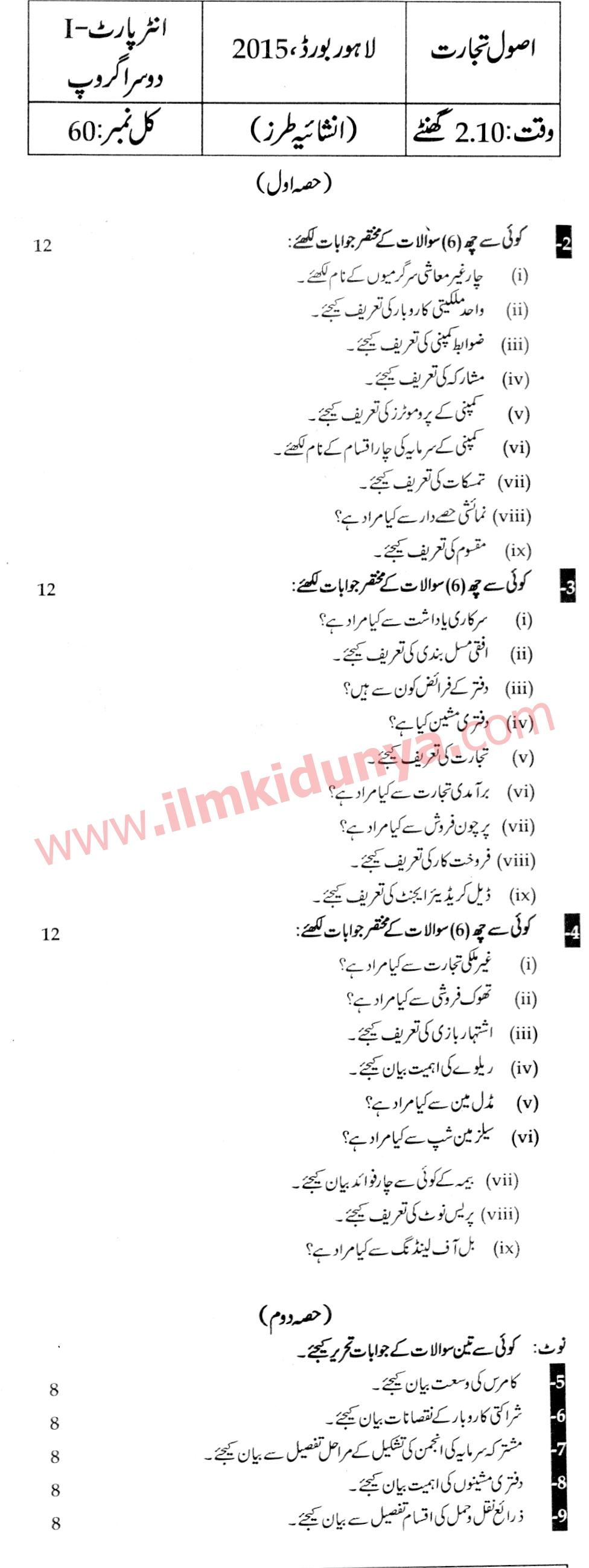 Past Papers 2015 Lahore Board ICom Part 1 Principles of