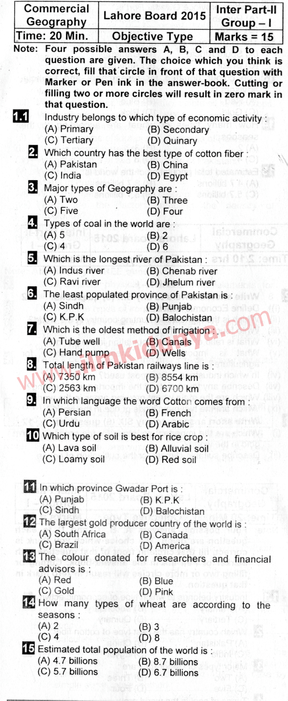 Past Papers 2015 Lahore Board ICom Part 2 Commercial