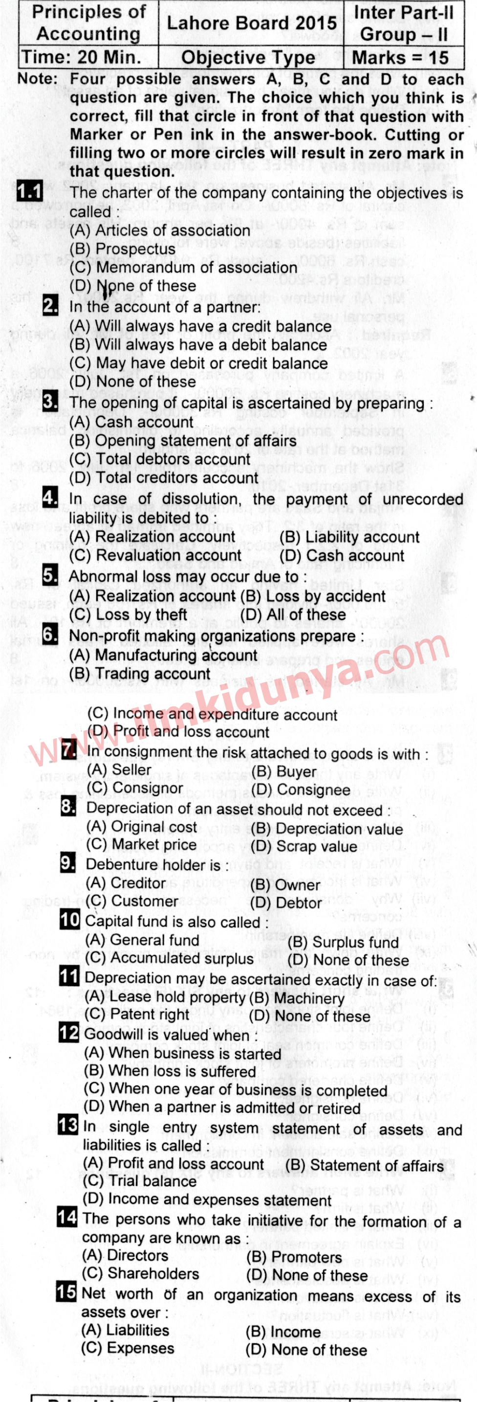 Past Papers 2015 Lahore Board ICom Part 2 Principles of