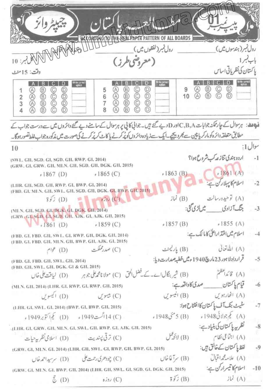 Past Papers 2015 Rawalpindi Board 9th Class Pak Studies