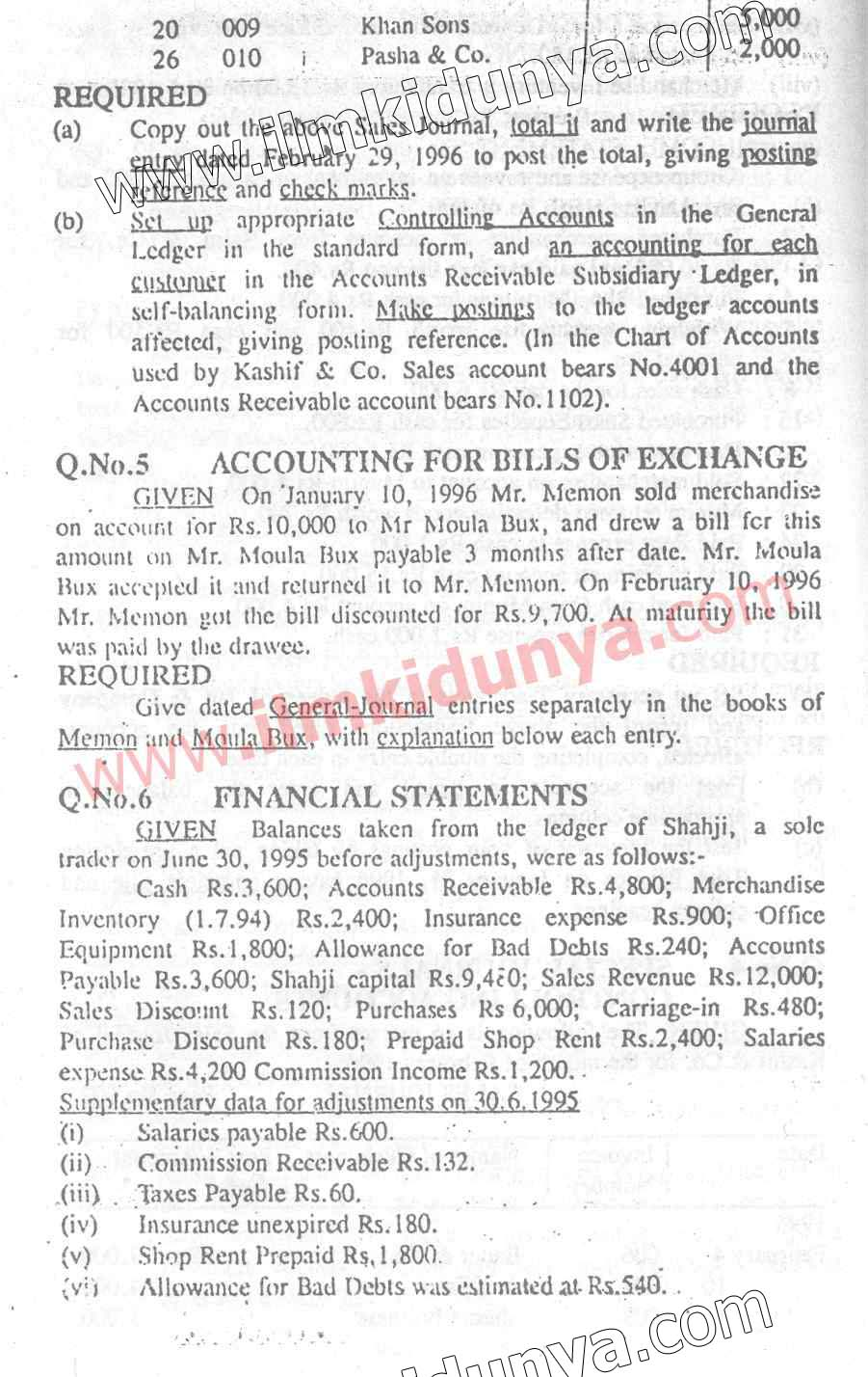 Past Papers 1996 Accounting Karachi Board ICom Part 1