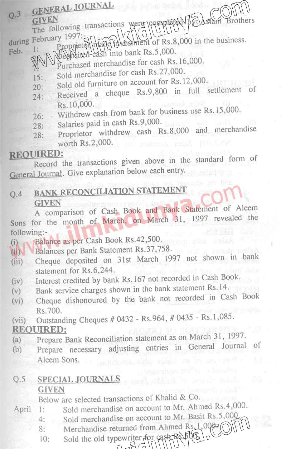 Past Papers 1997 Accounting Karachi Board ICom Part 1