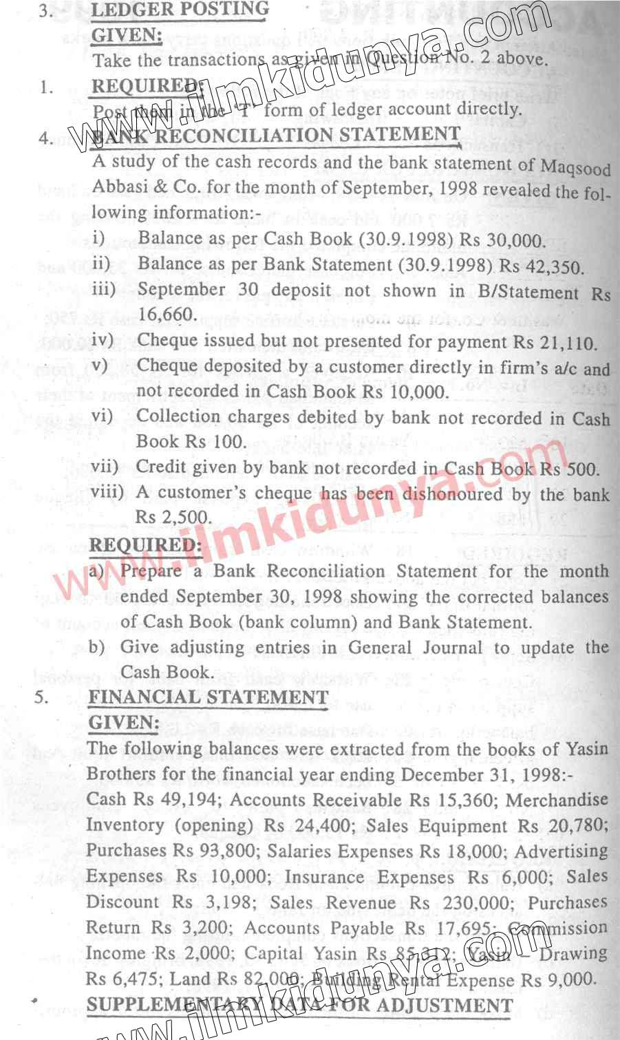 Past Papers 1999 Accounting Karachi Board ICom Part 1