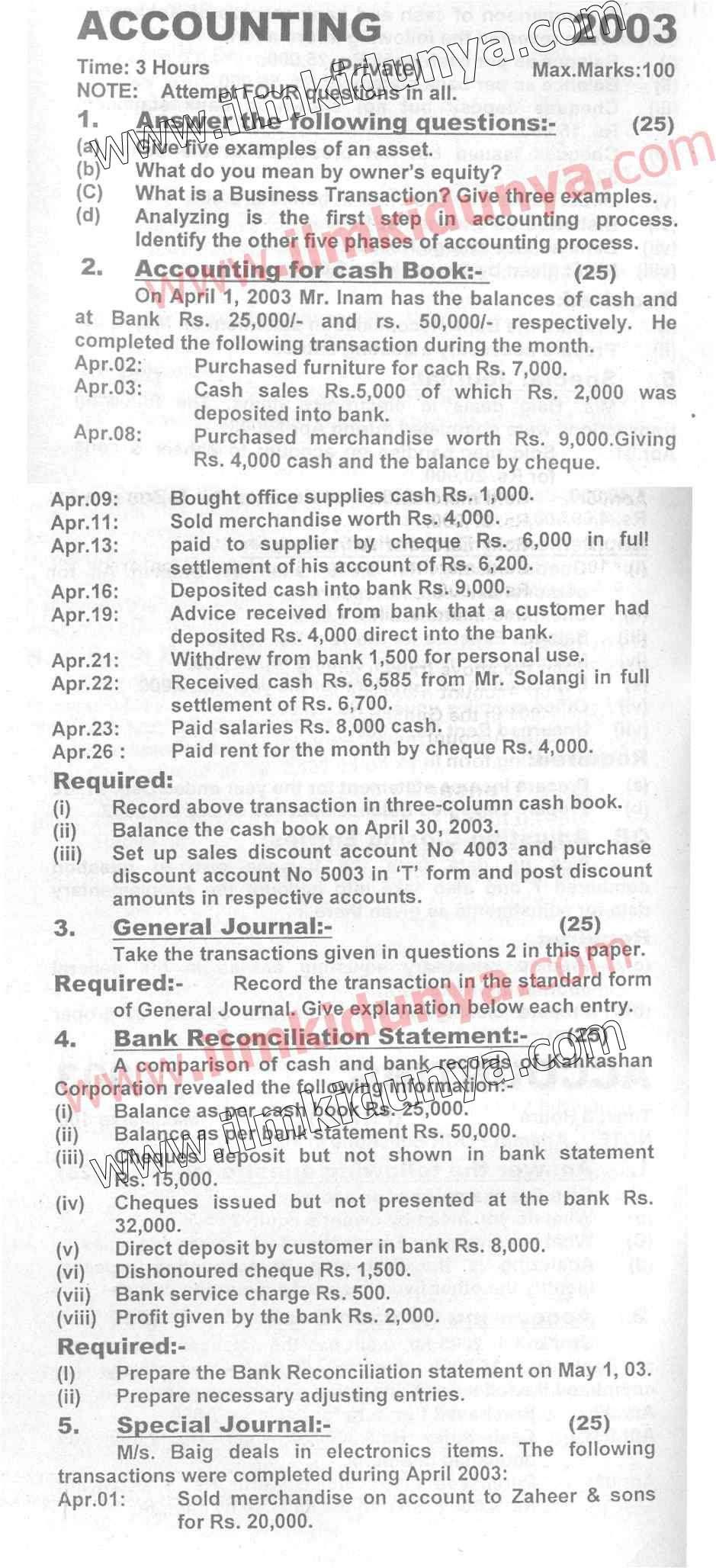 Past Papers 2003 Accounting Karachi Board ICom Part 1 Private