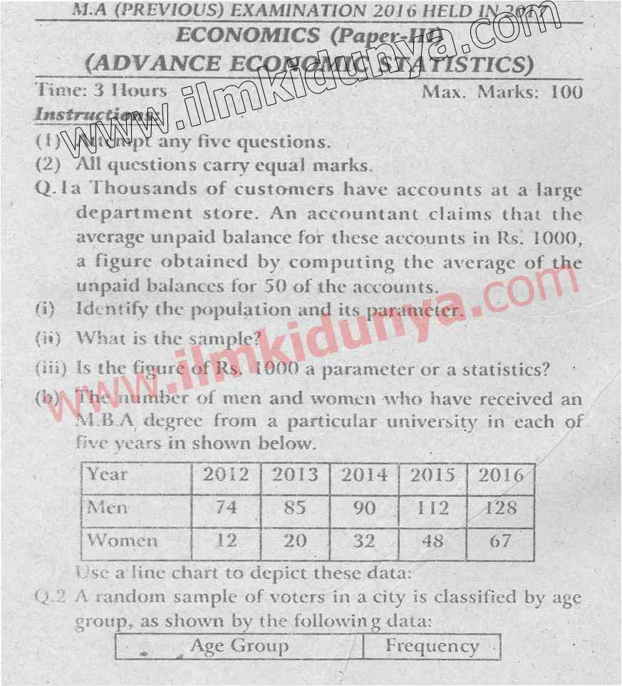 Past Papers 2017 Punjab University MA Economics Part 1