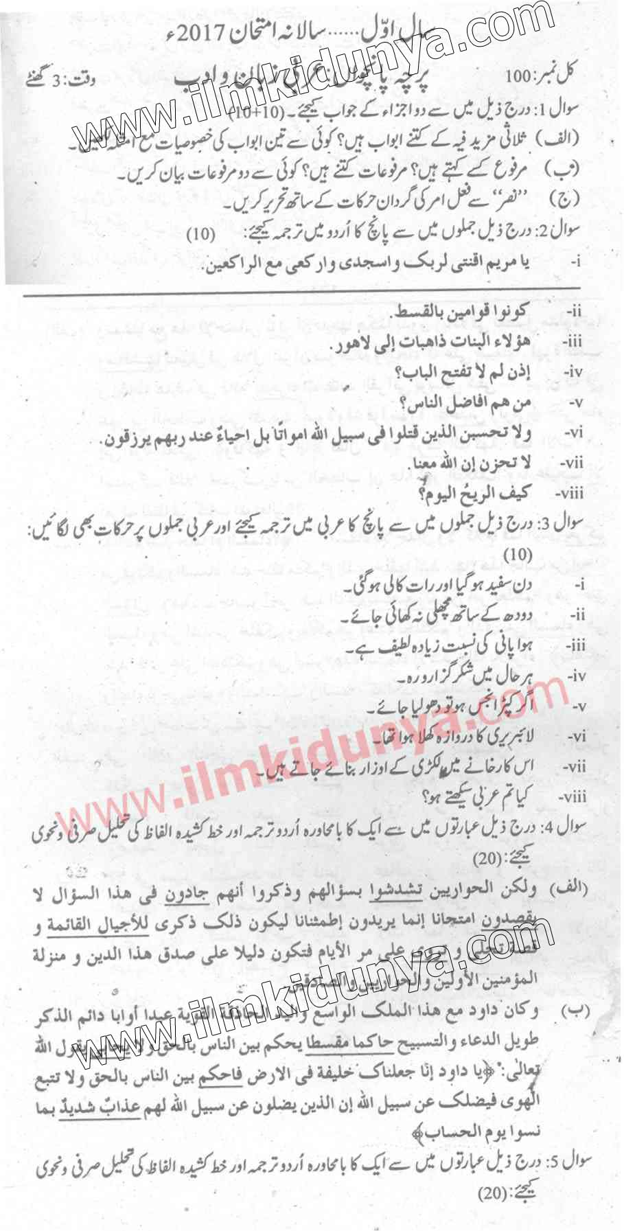Past Papers 2017 Punjab University MA Part 1 Islamiat Paper 5