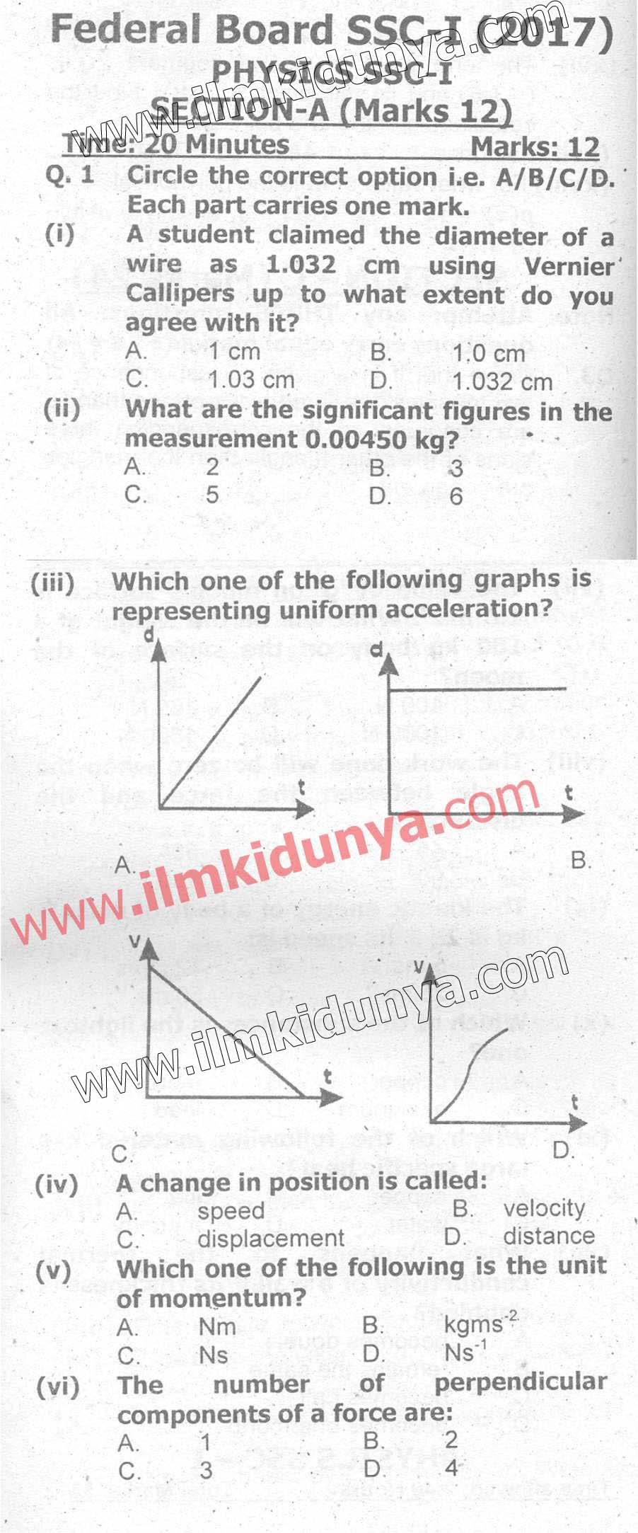 Past Papers Federal Board 2017 9th Class Physics English
