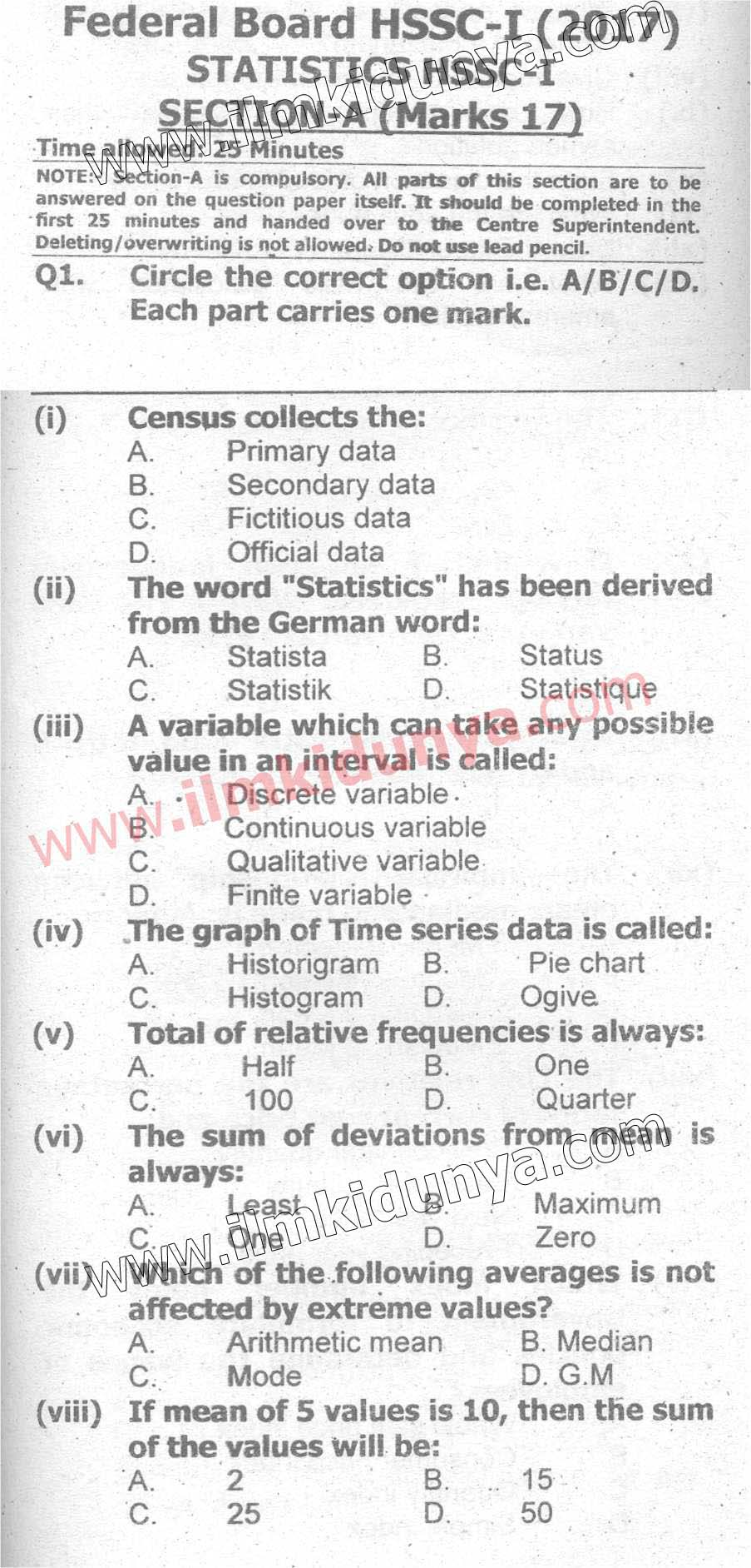 Past Papers Federal Board 2017 Inter Part 1 Statistics