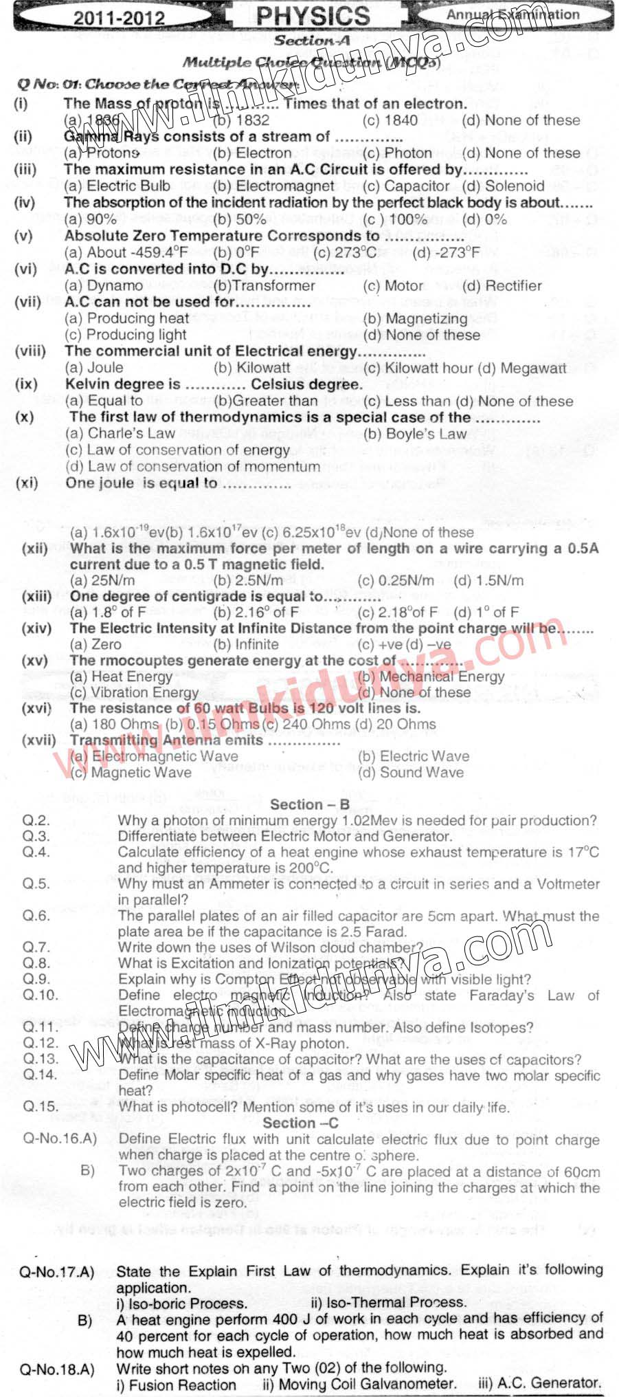 Past Papers 2012 Hyderabad Board Inter Part 2 Physics