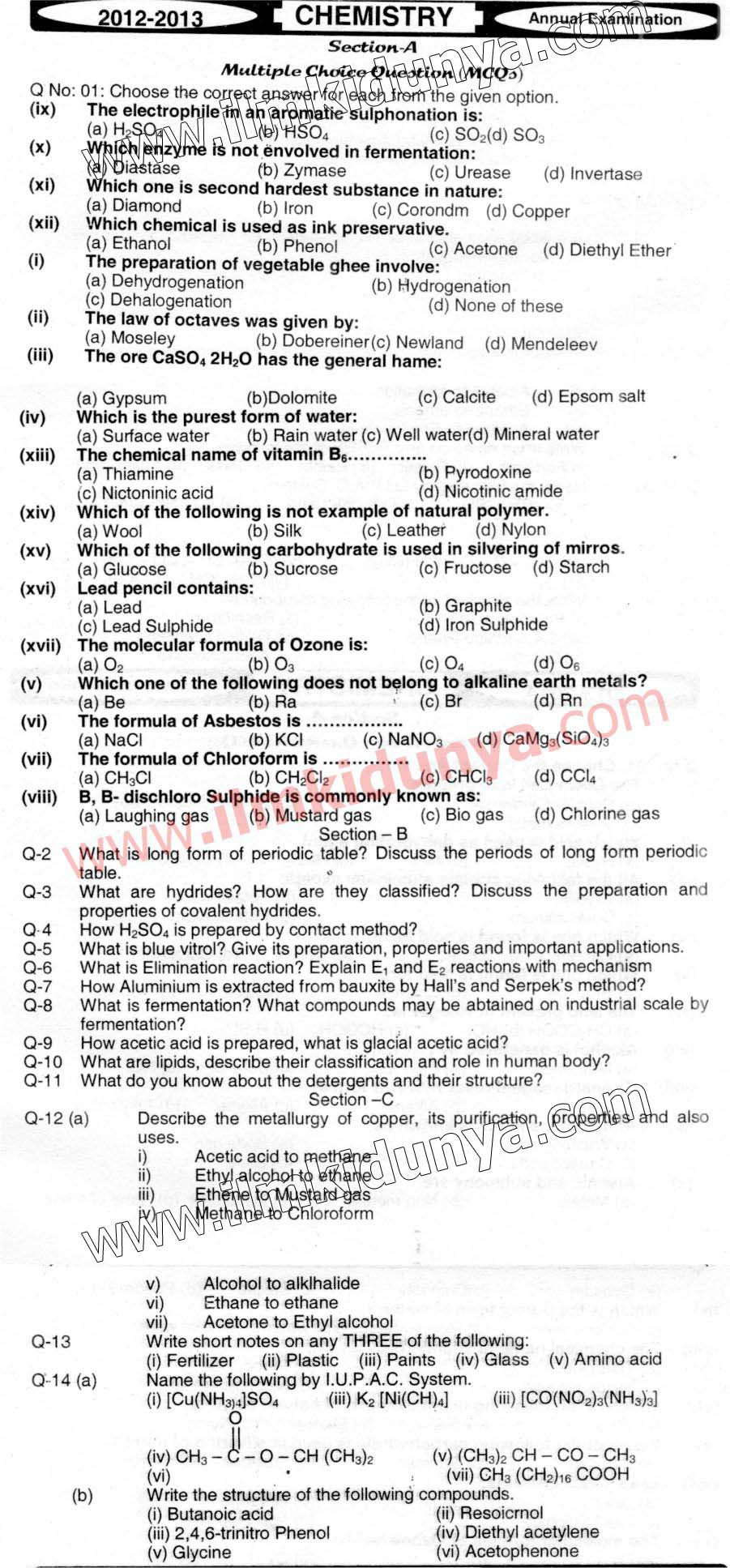 Past Papers 2013 Hyderabad Board Inter Part 2 Chemistry