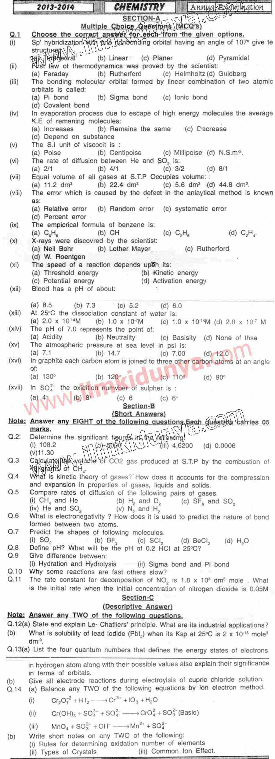 Past Papers 2014 Hyderabad Board Inter Part 1 Chemistry