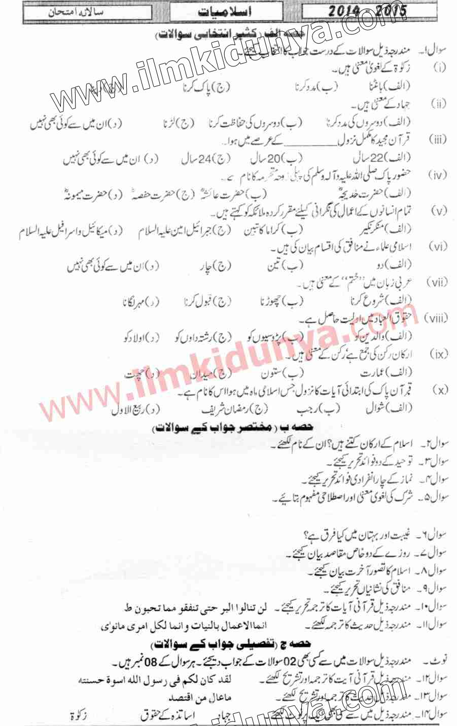 Past Papers 2015 Hyderabad Board Inter Part 1 Islamiat