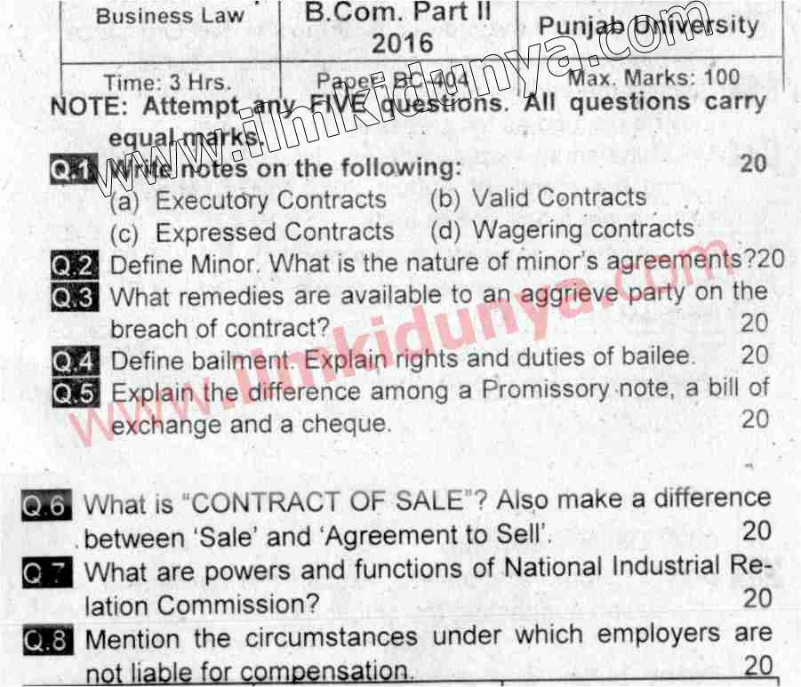 Past Paper Punjab University 2016 BCom Part 2 Business Law