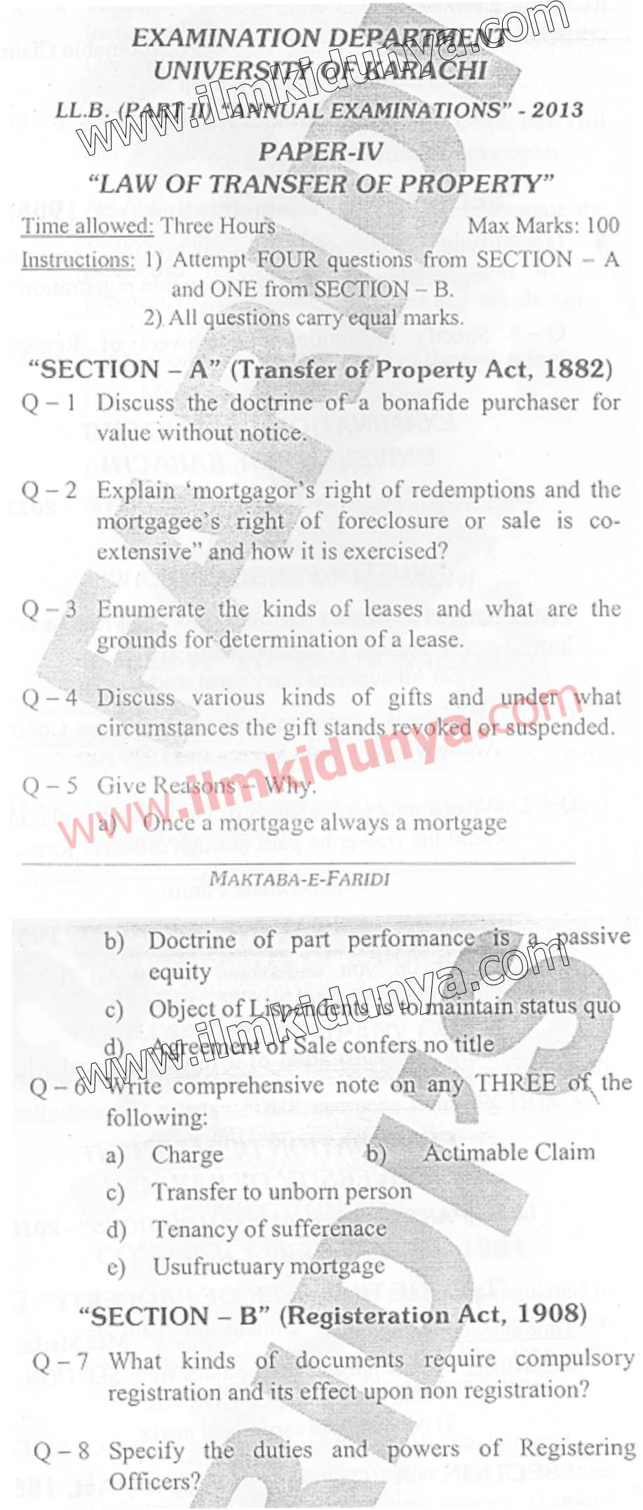 Past Papers 2013 Karachi University LLB Law of Transfer