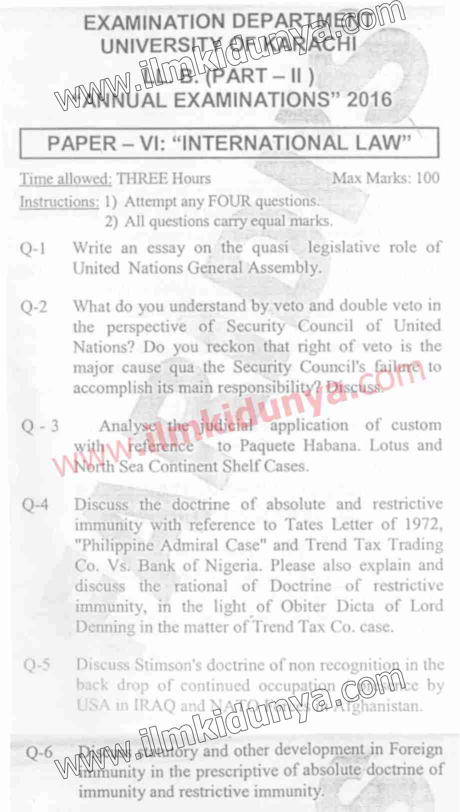 Past Papers 2016 Karachi University LLB International Law