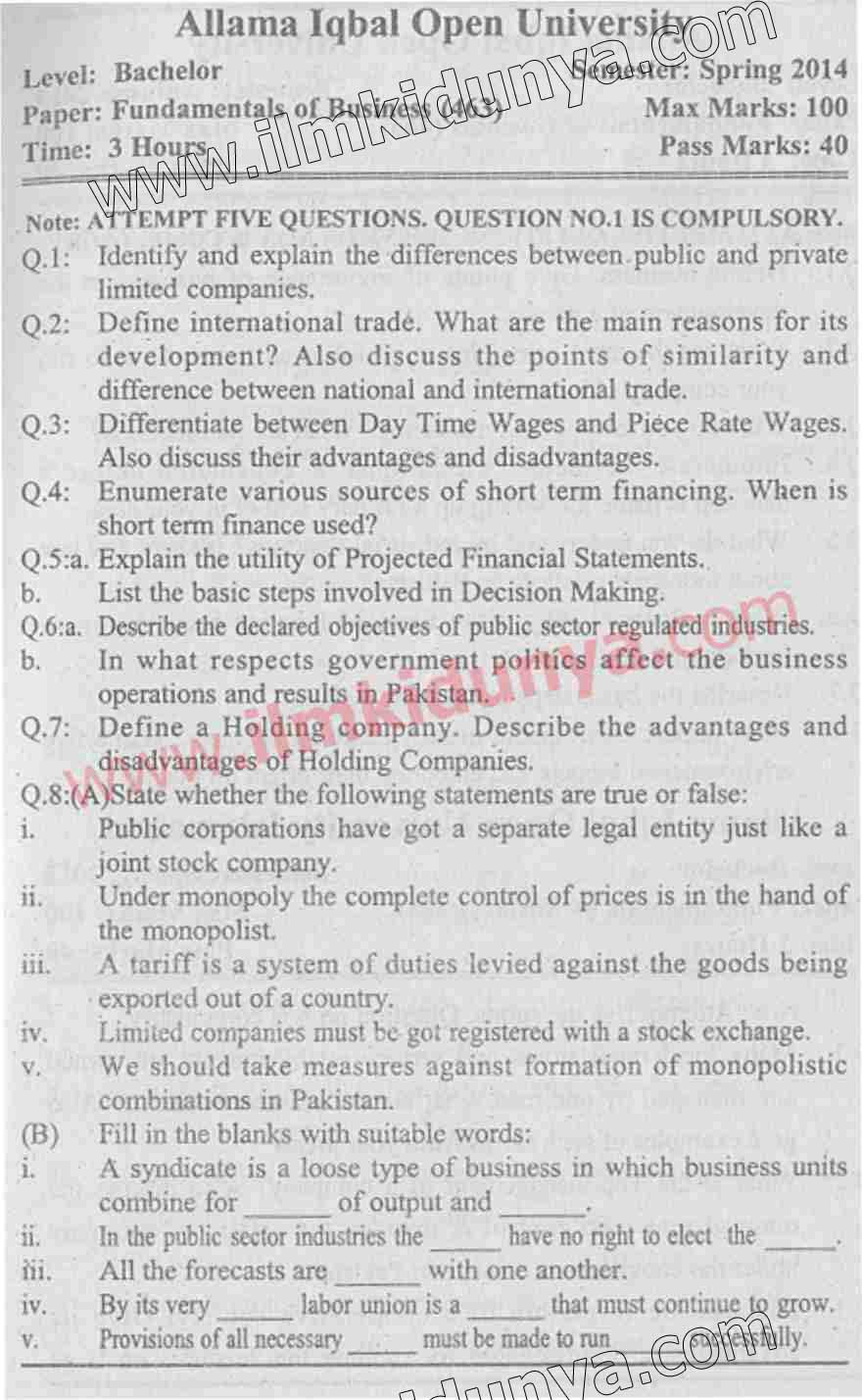 Past Papers 2014 Allama Iqbal Open University BCom