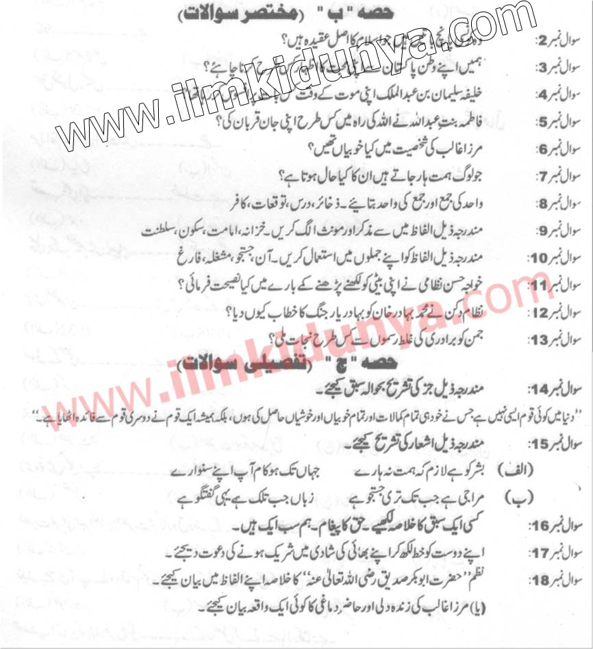 Past Papers 2013 Hyderabad Board 10th Class Salees Urdu