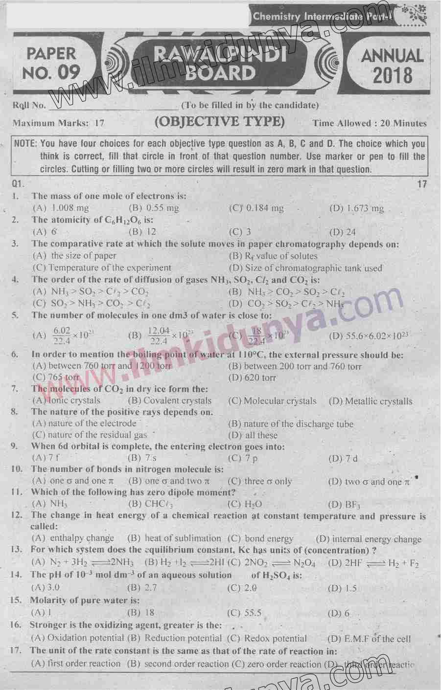 Past Papers 2018 Rawalpindi Board FSc Part 1 Chemistry